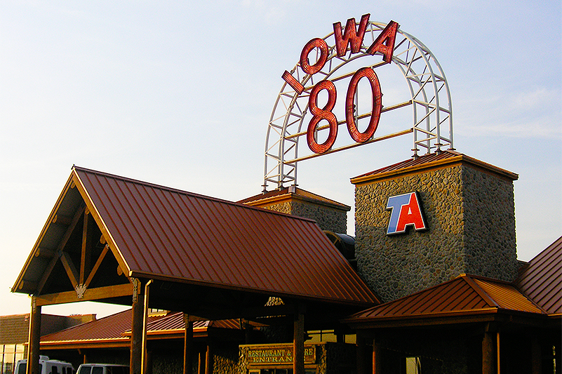 Iowa 80 Truck Stop Sign out Front