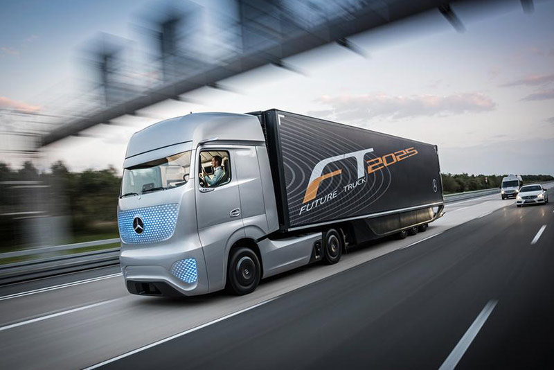 Mercedes Benz Future Truck Side Driver View Highway