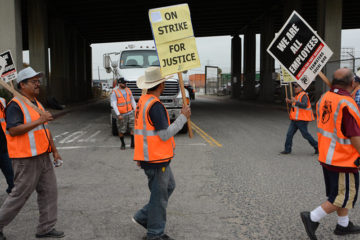 Striking Drivers at the Port of Los Angeles Holding signs and marching