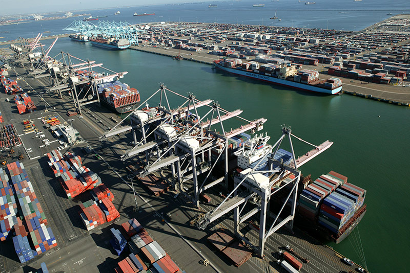 overhead view of Shipping containers at the port of los Angeles
