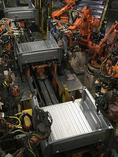 Robot's assemble truck beds at Fiat Chrysler Automobile's truck factory in Warren, Mich.