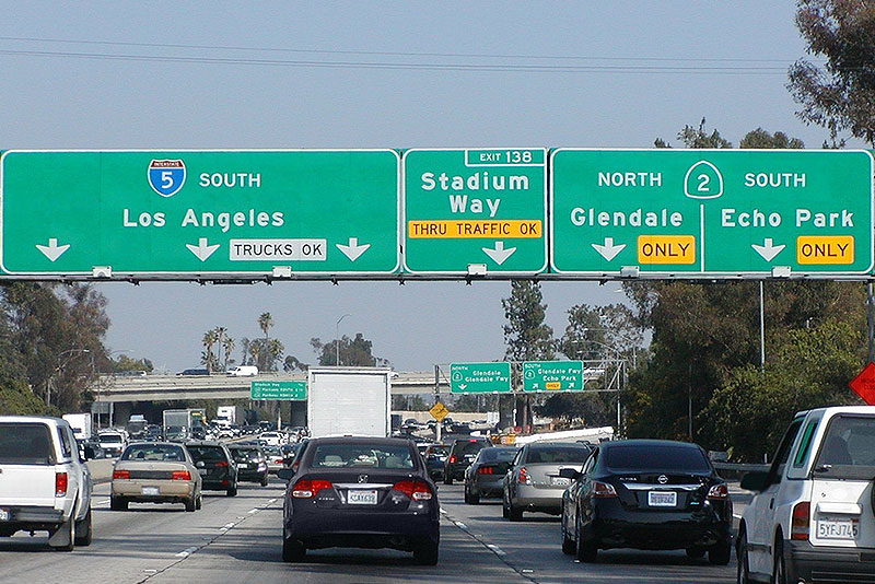 Cars and trucks in Los Angeles highway traffic