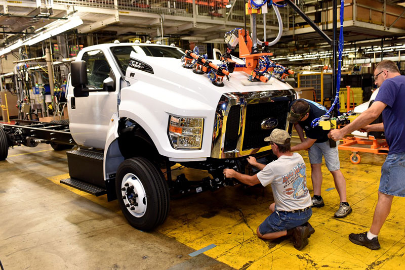 Ford workers assemble the F-650 and F-750 at the Ohio Assembly Plant.