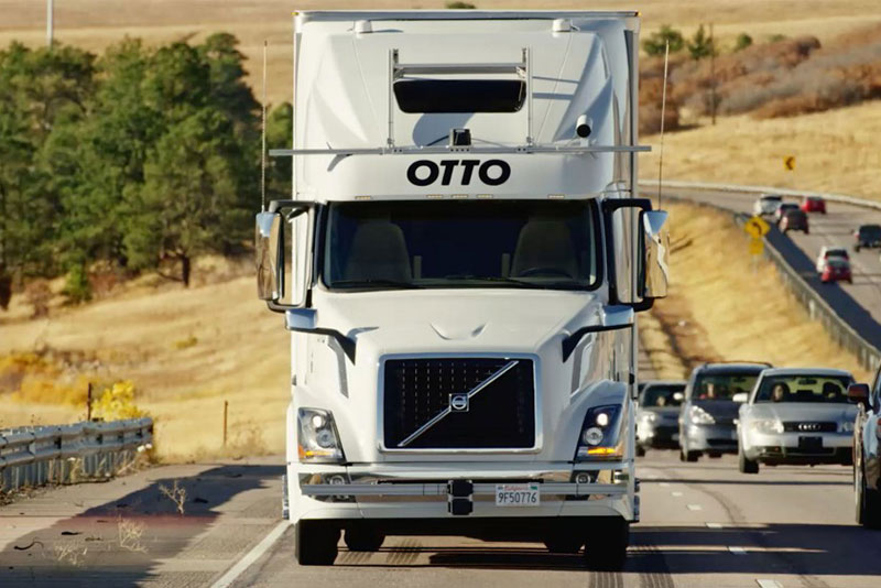 Otto self-driving truck using artificial intelligence