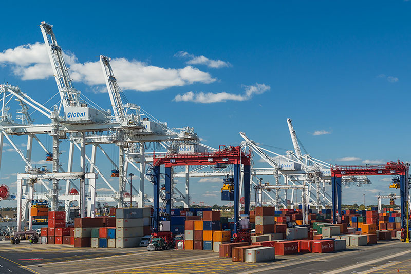 shipping Containers at the Global Terminal Center at the Port of New York and New Jersey.