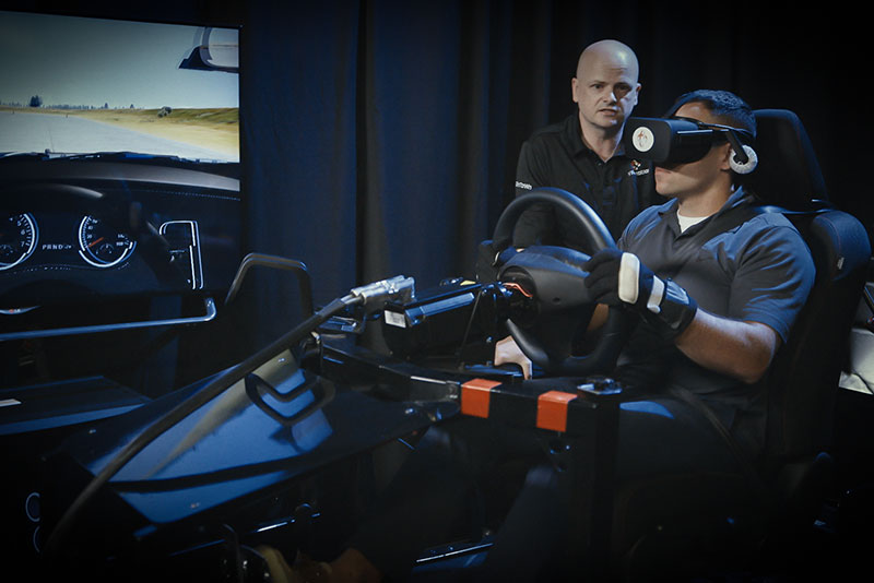 VR Training driver in action