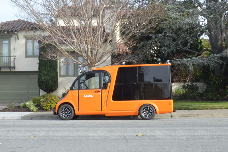 Udelv's autonomous delivery vehicle in San Mateo, California.