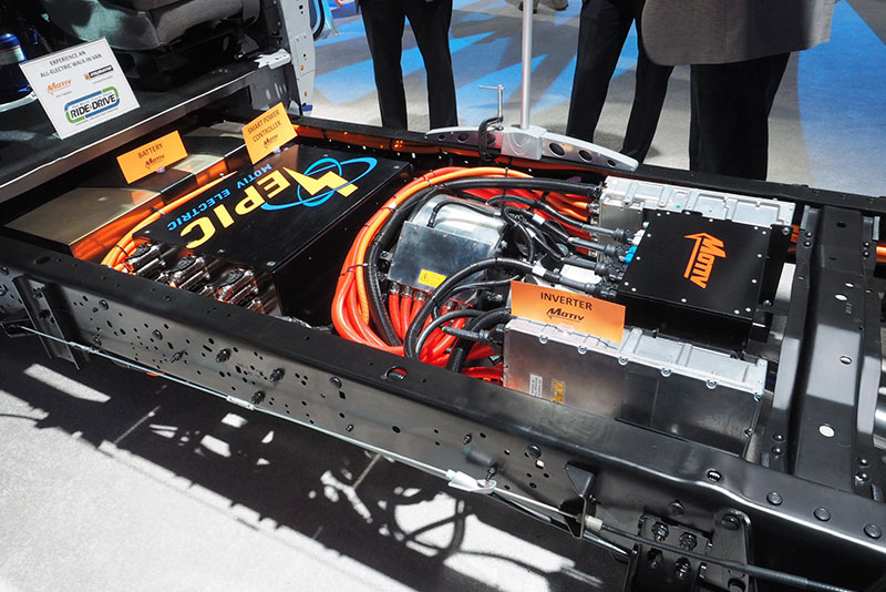 Motiv's chassis on display at the 2018 Work Truck Show side