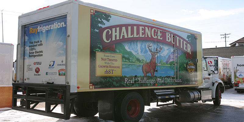 eNow installed it's solar-powered cooling unit on a Challenge Dairy truck in Fresno, Calif.