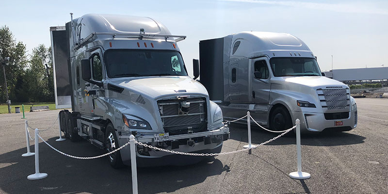 Daimler's Freightliner Cascadia trucks used for Data collection and autonomous driving tests.
