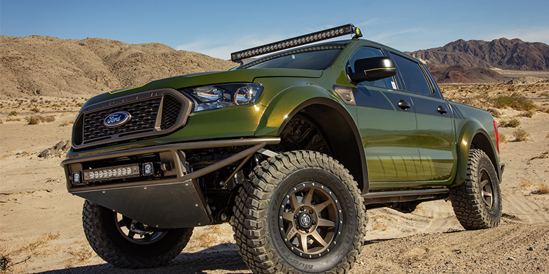 A Baja Style Off Road Ranger Outed With Rigid Lights And Icon Vehicle Dynamics Suspension Was Built By Ford For The 2018 Sema Show In Las Vegas