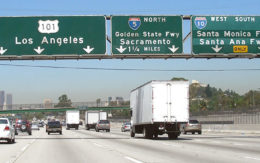 Trucks on LA freeway